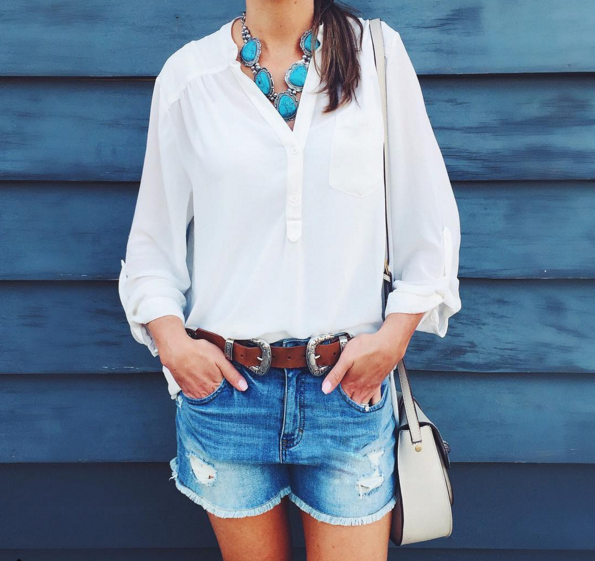Casual outfit with ivory tunic and denim shorts