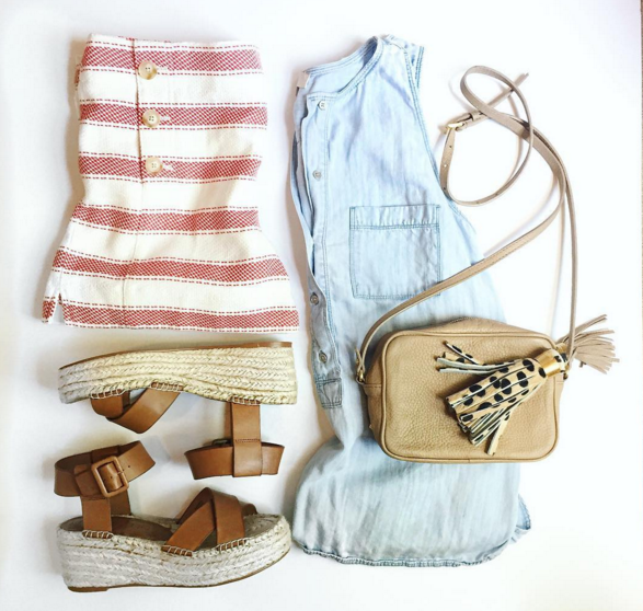 Stripe shorts, chambray tops and flatform sandals