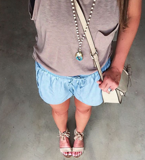 Chambray track shorts and muscle tank