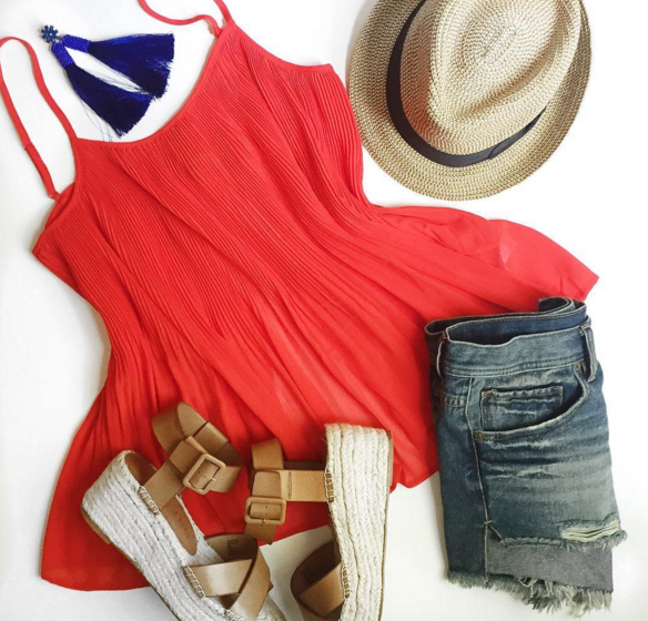 Casul #ootd with red swing top and denim shorts