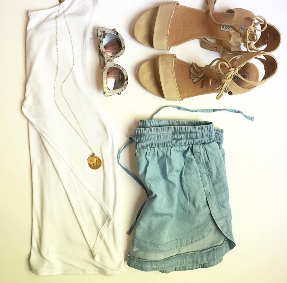 Chambray shorts and white tulip back top