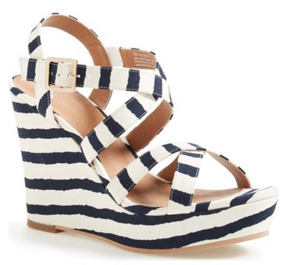 striped wedge sandal