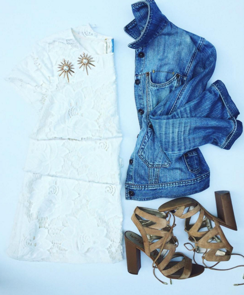 This white lace dress is perfect for a summer event.
