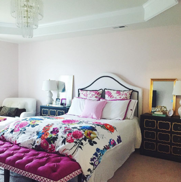 girly and glam master bedroom with designers guild floral