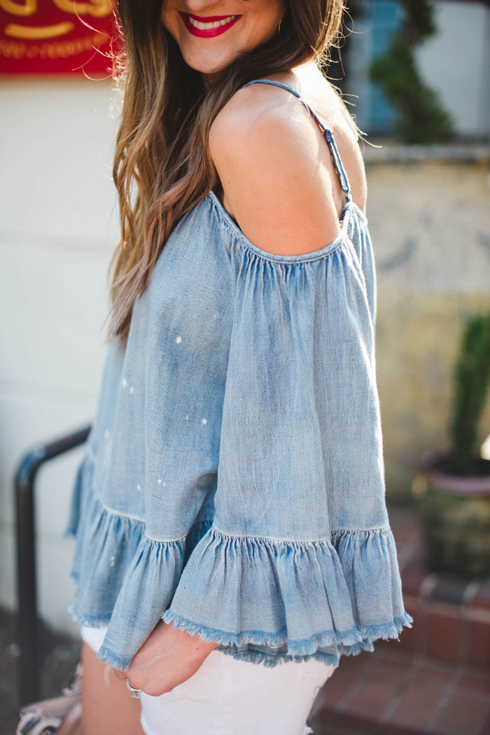 cold shoulder denim top white shorts 10