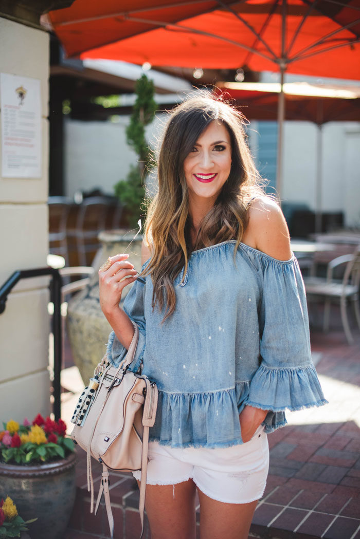 chambray cold shoulder top with white denim shorts