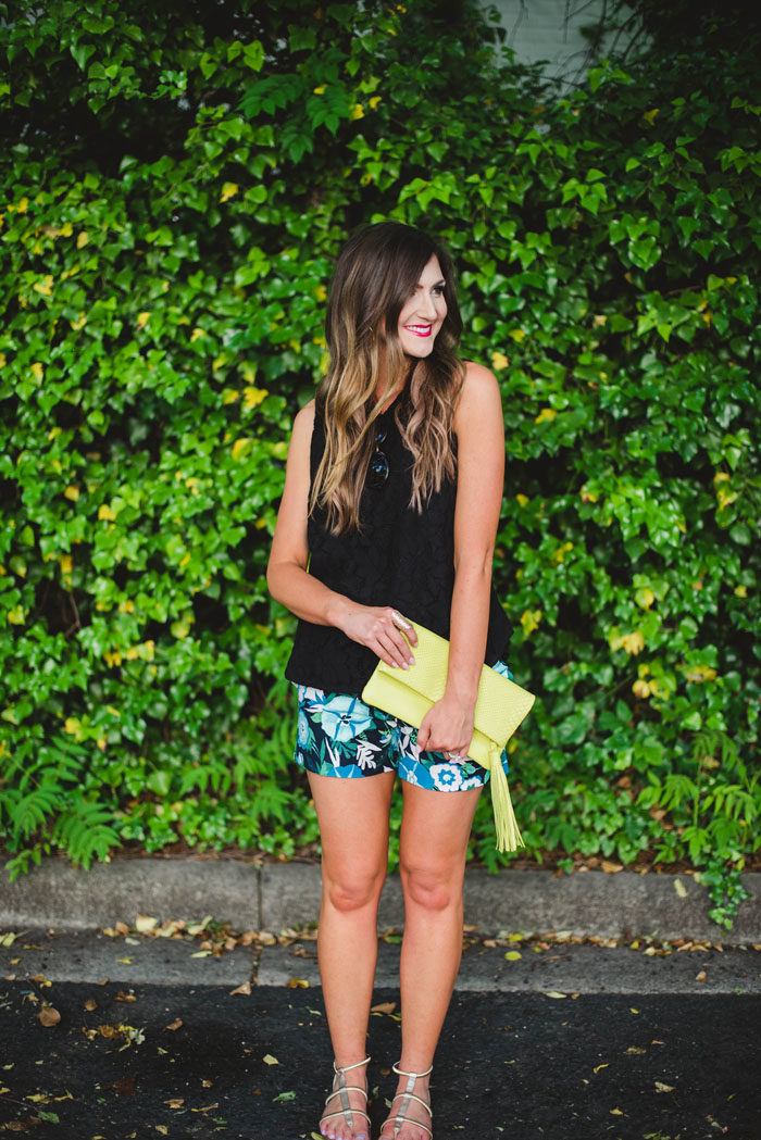 black tank with floral shorts