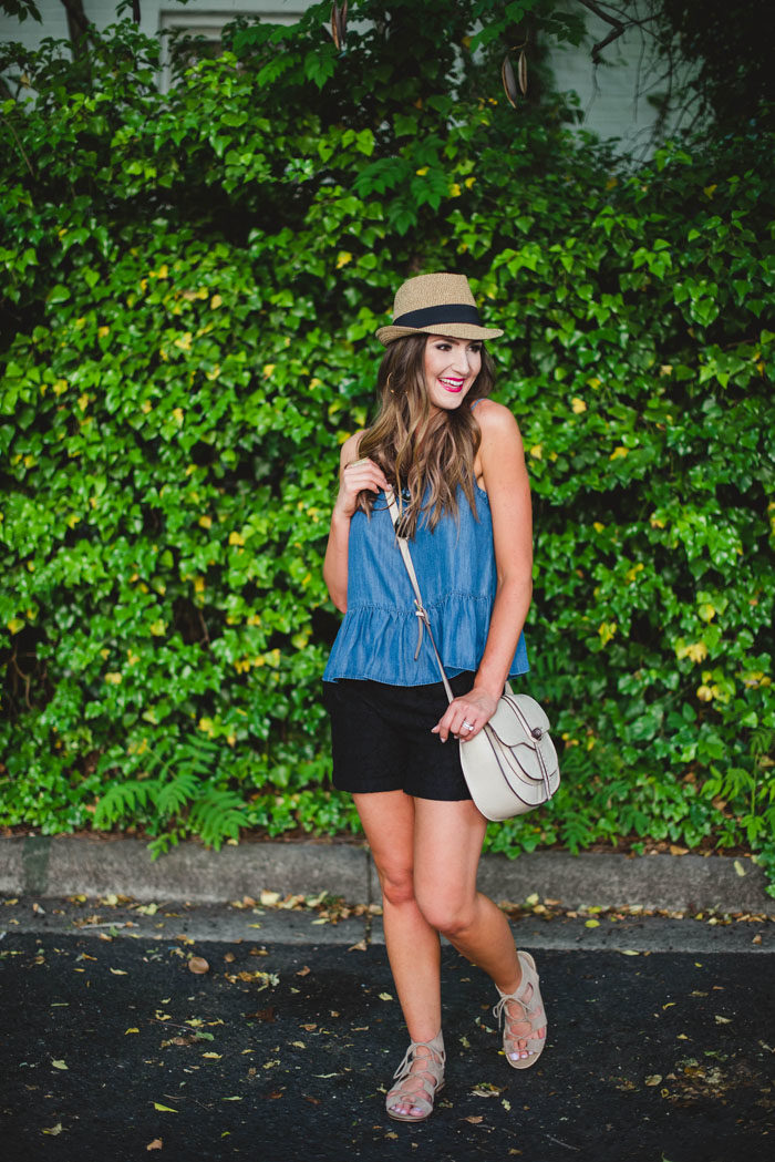 Chambray peplum top with black shorts