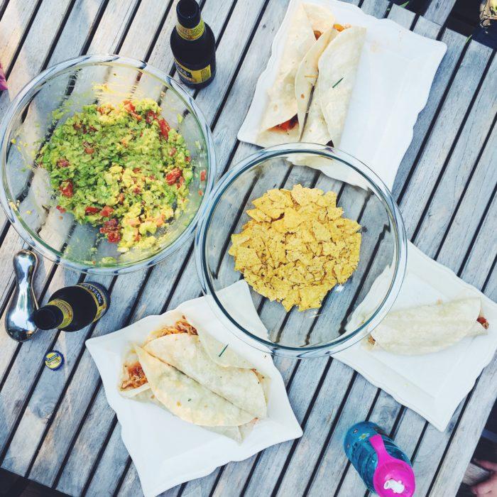Easy guacumole and chicken tacos recipes.