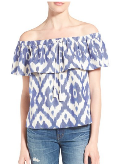ikat off the shoulder top