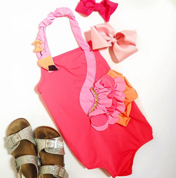 This flamingo swimsuit for girls is about the cutest thing ever.