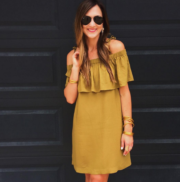 This olive green off the shoulder dress is inexpensive and versatile