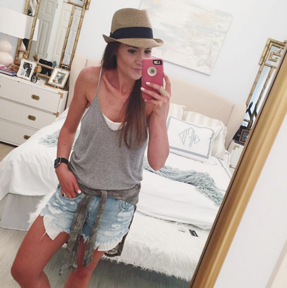 A causal summer #ootd with a fedora hat and distressed denim