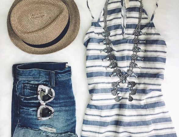 Cute summer outfit with squash blossom necklace