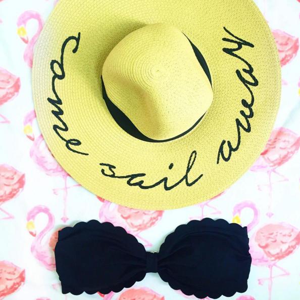 Straw statement hat and scalloped bikini top