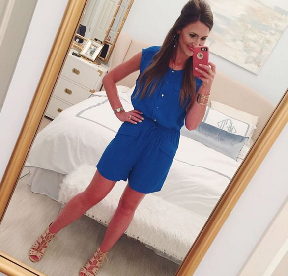 royal blue crepe romper