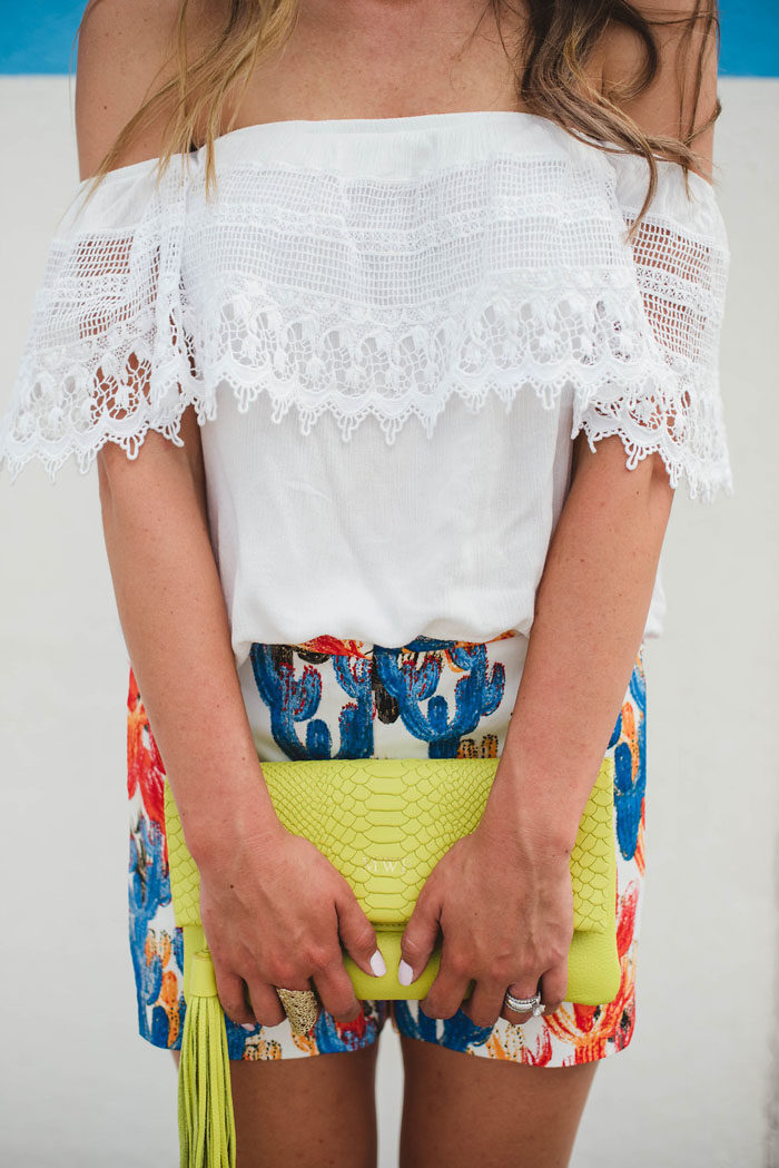 cactus shorts lace off the shoulder top 1