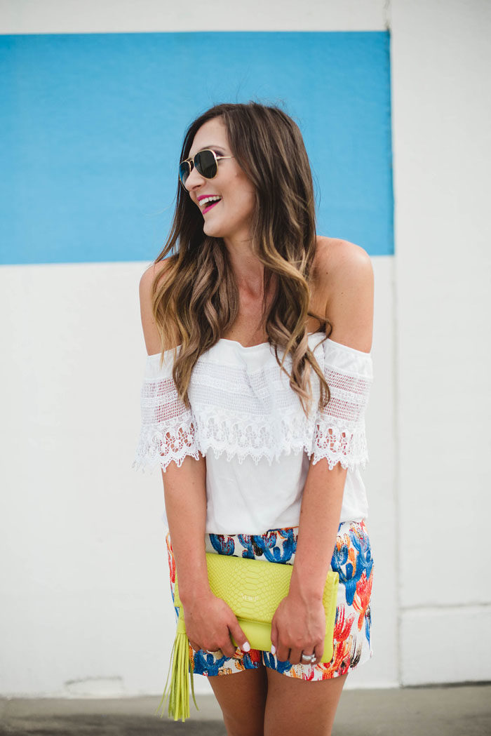 cactus shorts lace off the shoulder top 2