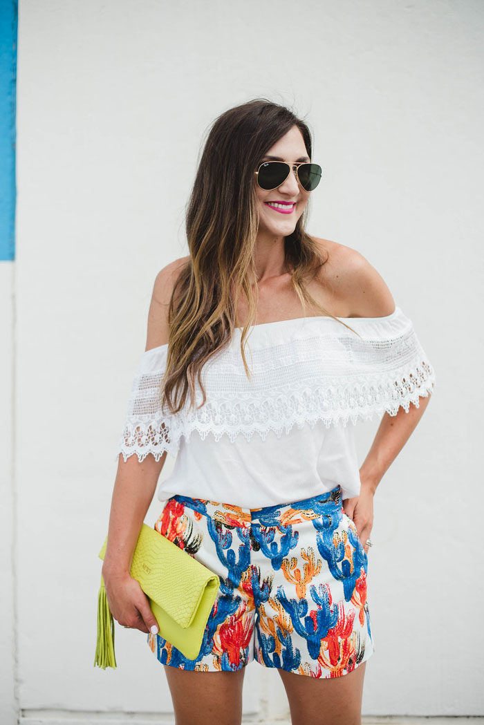 cactus shorts lace off the shoulder top 8