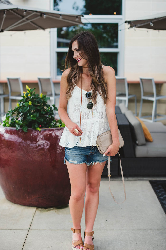 lace peplum top and denim shorts