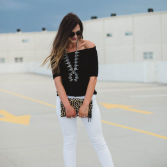 off the shoulder top and squash blossom necklace