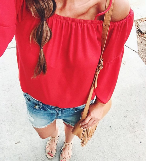 Red cold shoulder top with denim shorts