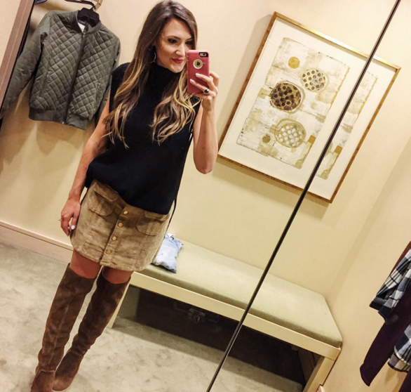 Nordstrom Anniversary Sale 2016 finds, over the knee boots and corduroy mini skirt