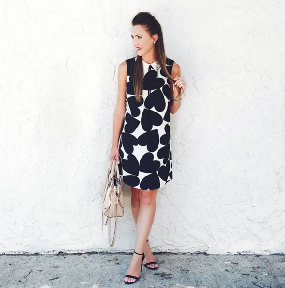 Heart print shift dress by Cece
