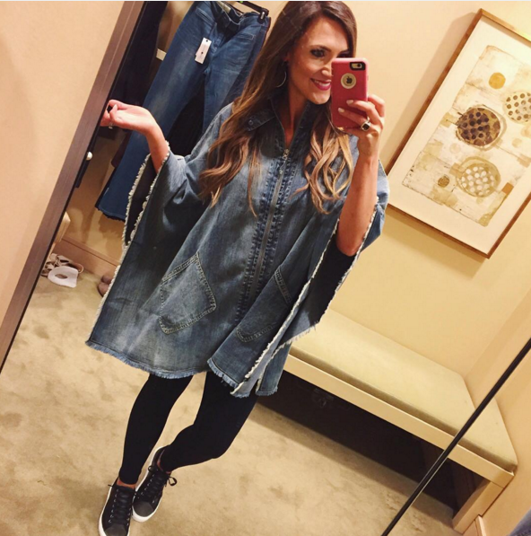 How to style a denim poncho for Fall