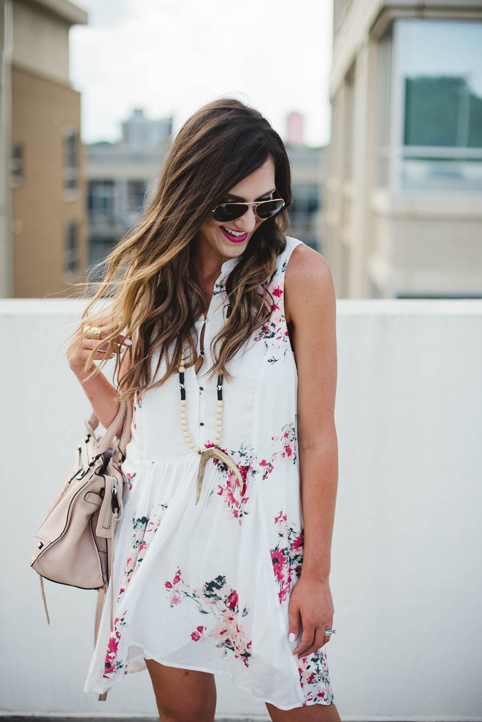 Floral dress with antler necklace