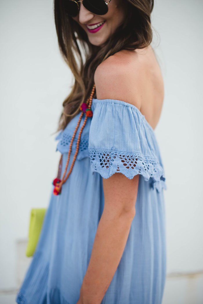 baby blue of the shoulder dress with flatforms