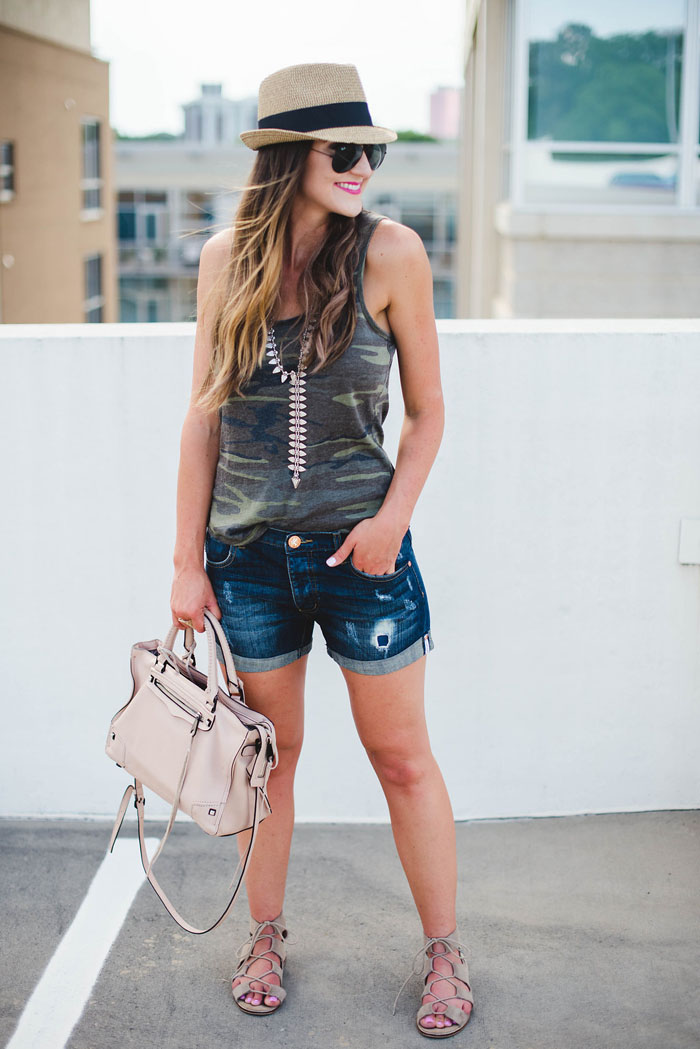 Z Supply Camo t-shirt with denim shorts and statement necklace