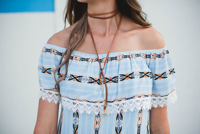 Printed off the shoulder dress with lariat necklace