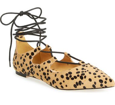 Inexpensive Leopard Lace up flats
