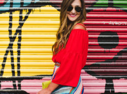 I paired this red cold shoulder top with this colorful maxi skirt for a fun summer #ootd