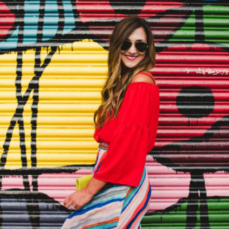 Cold Shoulder Top + Colorful Maxi Skirt