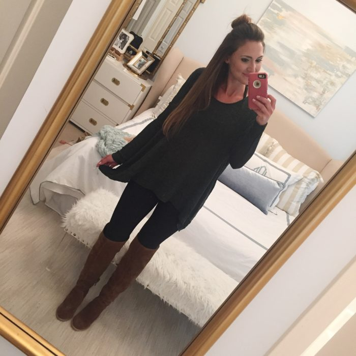 Over the knee boots with chic green tunic