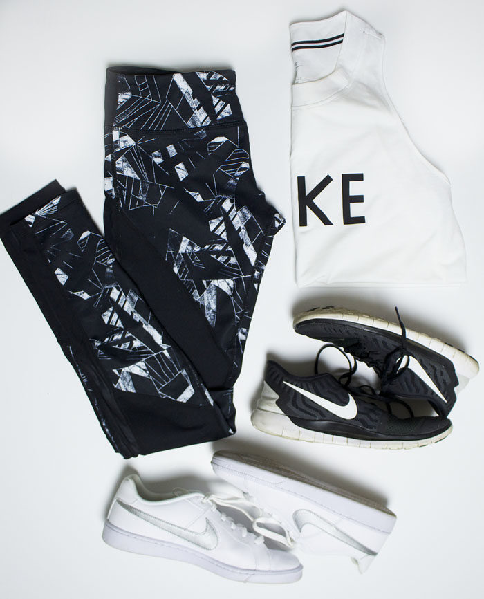 Athleisure outfit option with zella tights and Nike free running shoes