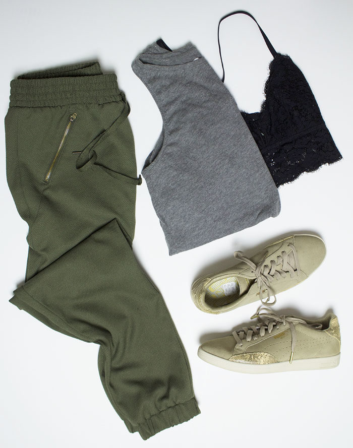 Athleisure outfit option with track pants and puma sneakers