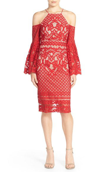 Red Lace Cold Shoulder Dress