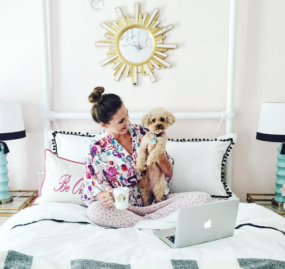 Fun Floral robe and colorful guest room!
