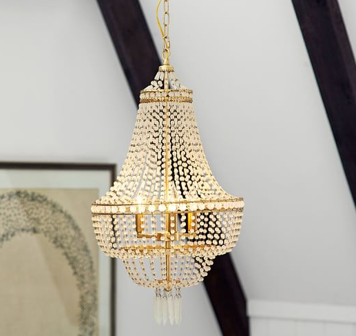 Gold and crystal Taryn Chandelier from Pottery Barn on major sale!