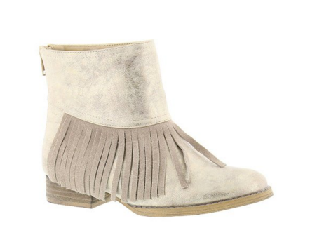 Volatile Kids Metallic Gold Fringe Bootie for Girls