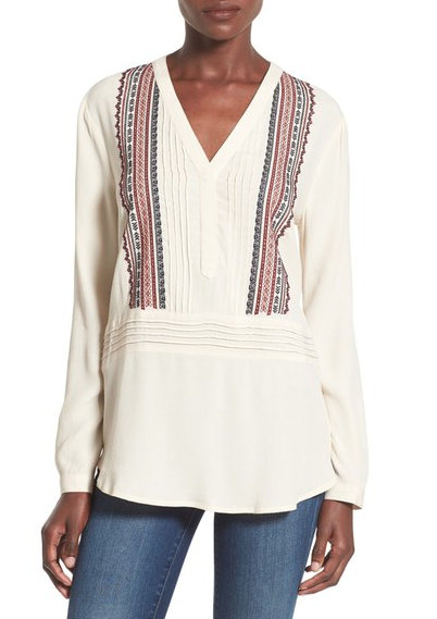 ASTR Embroidered Top on Sale at Nordstrom