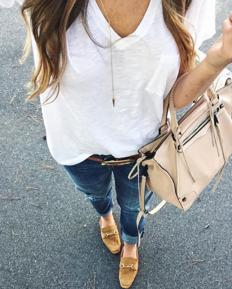 A casual outfit pairing a v-neck Madewell white t-shirt with boyfriend denim and loafers.