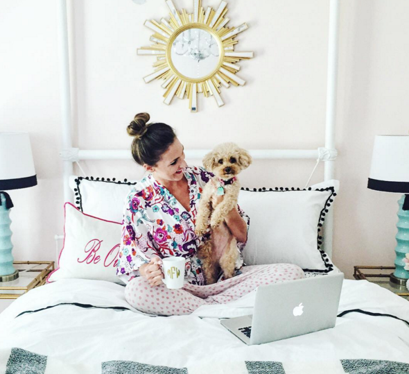 Blogger Mallory Fitzsimmons of Style Your Senses shows off her bright and colorful guest bedroom and adorable Bichon-Poo Chloe