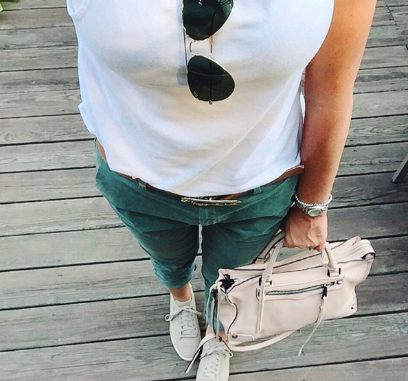 Gap girlfriend chinos with sneakers and a white tank