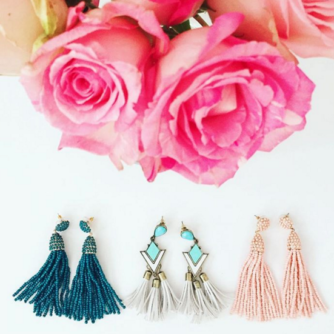 Baublebar pinata tassel drop earrings in teal and blush