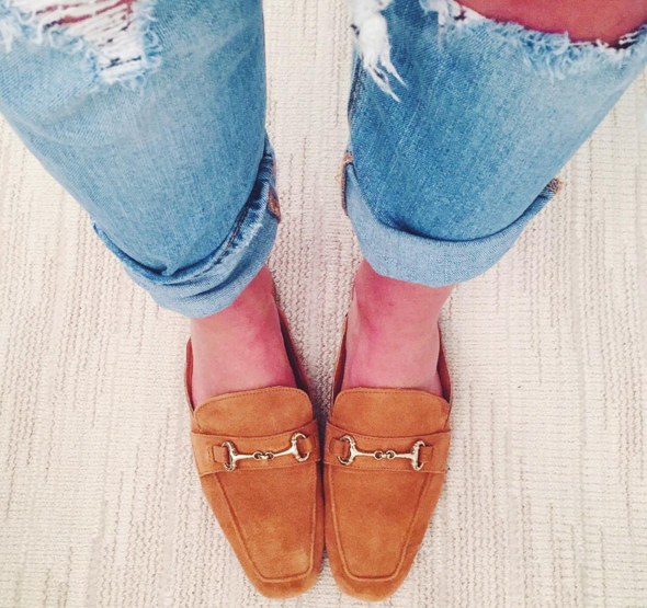 Steven by Steve Madden suede mules with boyfriend jeans