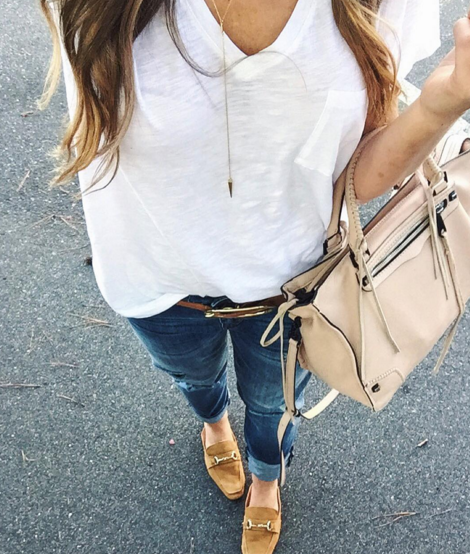 Wear a white t-shirt with boyfriend denim and suede mules for a casual and chic Fall outfit